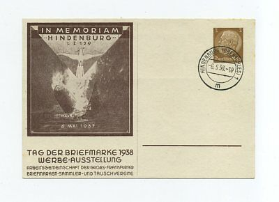 1938 3rd Reich private postal stationery Zeppelin LZ 129 Lakehurst commemoration
