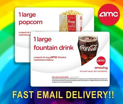 🔴FAST EMAIL DELIVERY! AMC LARGE Coke Drink & LARGE Popcorn Voucher! 🎥