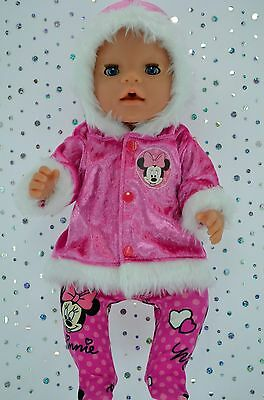 "Play n Wear Doll Clothes To Fit 17"" Baby Born HOT PINK VELVET JACKET~TIGHTS"