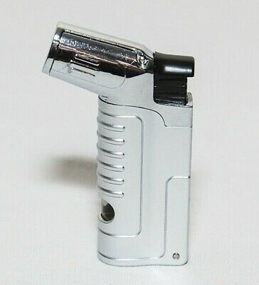 Silver Jet Flame Butane Torch Lighter Refillable Windproof w/ Cigar Punch