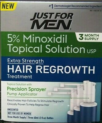 Just For Men Minoxidil 5% Extra Strength Hair Regrowth Treatment 3 Month Supply