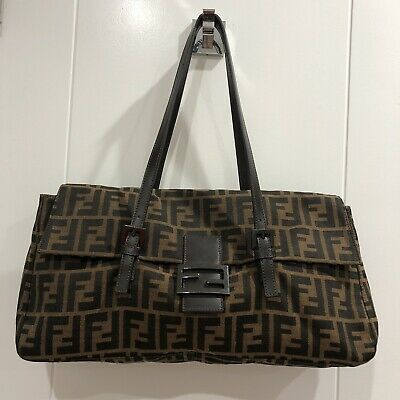 62aecd5bc6b2 AUTHENTIC FENDI BROWN Zucca FF pattern small shoulder bag -  150.00 ...