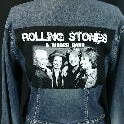Rolling Stones Jean Jacket A Bigger Bang Denim Trucker Blue Cropped Junior  Large 278abe297b2c
