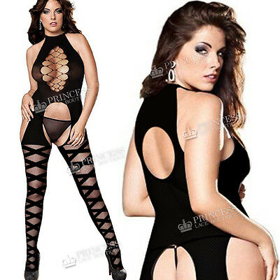 True Size UK 8-24 Plus+ Fishnet Bodystocking Lingerie Crotchless Tights Bodies