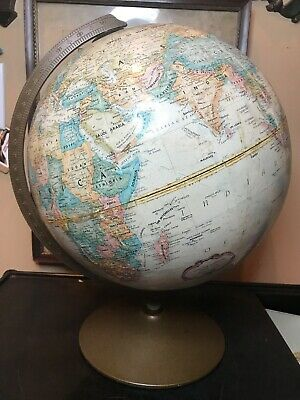 Vintage Replogle Globe. 12 Inch Diameter Tan World Classic Series. Made In USA!
