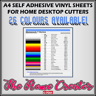 A4 sheet self adhesive vinyl Metamark M7.Cricut desktop cutter.26 colours avail