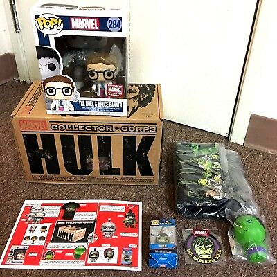 Funko POP Marvel Collector Corps The Hulk & Bruce Banner + Full Sealed Box MINT