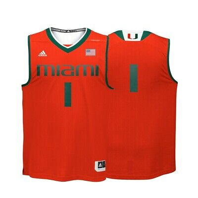 finest selection d6af9 df230 MIAMI HURRICANES NCAA Adidas #1 Orange Replica Basketball Jersey