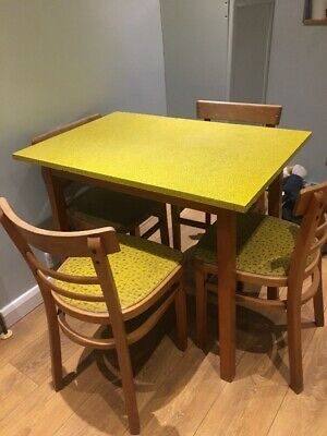 Vintage Mid Century Formica Table Dining Kitchen Retro & 4 chairs original!