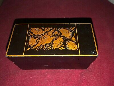 Antique Wooden Black Lacquered Box Bottle Holder Probably Chinese Gold Colour