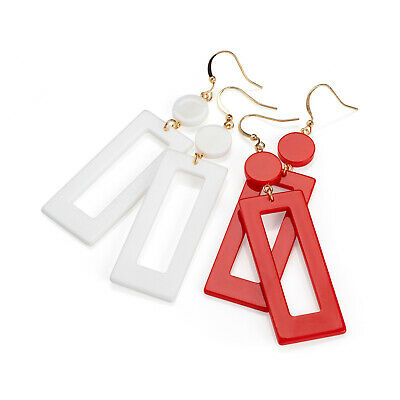 2 Pairs of Red and White Drop Earrings Set Ladies Fashion Jewellery