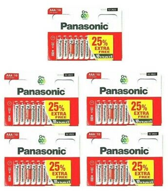 50 x AAA Genuine PANASONIC Zinc Carbon Batteries LR03 1.5V MN2400 Longest Expiry