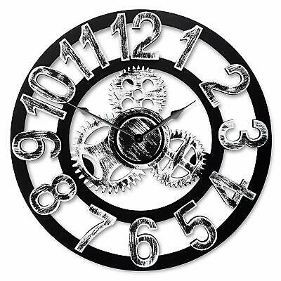 """16"""" Round Wall Clock Antique Handmade Wooden Vintage 3D Silver With Numbers"""