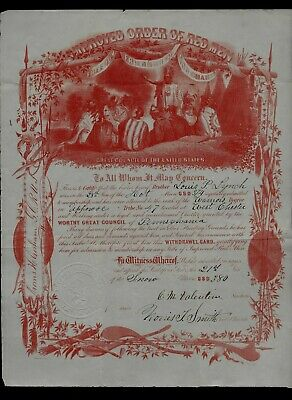 """1860s Terrific Illustrated Document """"Improved Order of Red Men"""" West Chester, PA"""