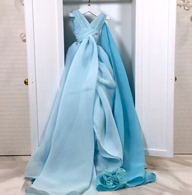 Silkstone Blue Chiffon Ball Gown & Shoes For Silkstone Barbie & FR Dolls