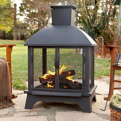 Firehouse Black Uniflame Outdoor Chimney Fireplace Patio Fire Wood