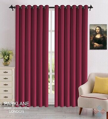 Burgundy Luxury Thermal Blackout Window Curtains Eyelet Ring Top with Tie Backs
