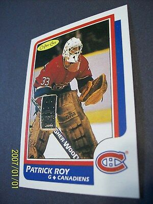 """1986-87 O-Pee-Chee # 53 Patrick Roy (Montreal Canadiens) """"Novelty"""" Rookie Card!"""