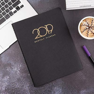 2019 Weekly/Monthly Planner, Appointment Book, 15 Monthly Tabs, Black - Poluma