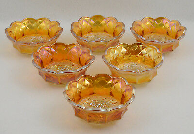 Imperial Heavy Grape Marigold Carnival Glass 6 Small Berry Bowls No Master Bowl
