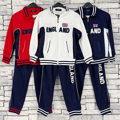 Boys Girls Football Tracksuit Training Zip Top & Bottoms England Jogging Set4-12