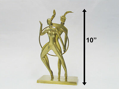mid century modern brass nude dancers figurines abstract minimalist sculpture