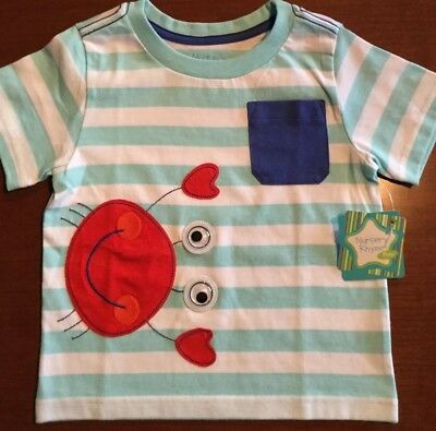 Nwt Nursery Rhyme Boys Striped Short Sleeve Shirt Size 24 Months Msrp $18.00
