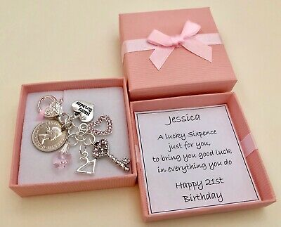 16Th 18Th 21St Birthday Gift Rhinestone Key Lucky Sixpence Personalised