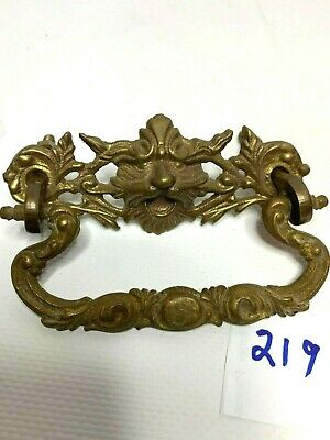 Lion Head Victorian Cast Brass antique bail style drawer pull handle #219