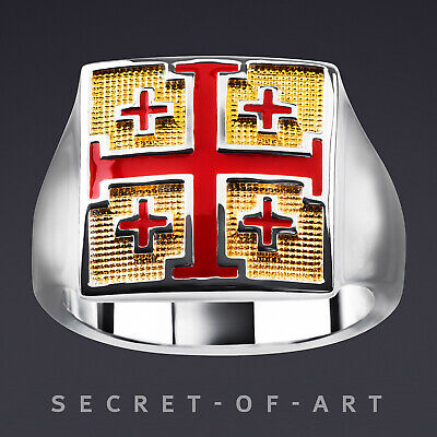 Jerusalem Cross Crusaders Silver Ring 925 Sterling with 24K-Gold-Plated Parts