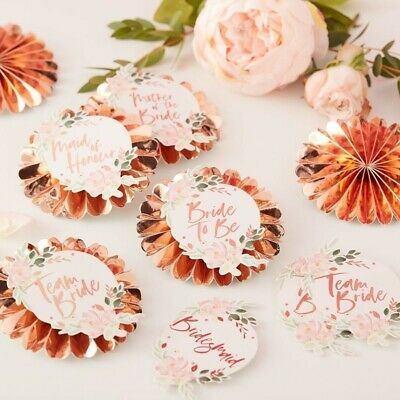 TEAM BRIDE BADGES - FLORAL HEN PARTY, Wedding,Hen Do,Costume Accessories,Rosette
