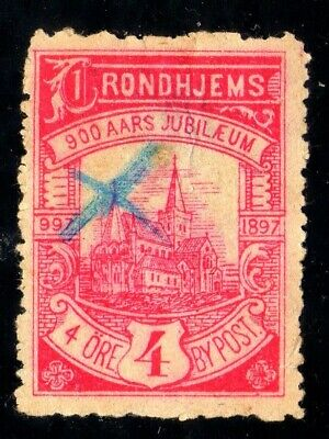Norway Local post 1897 TRONDHJEM # 39, 4 øre, used, stamp thin