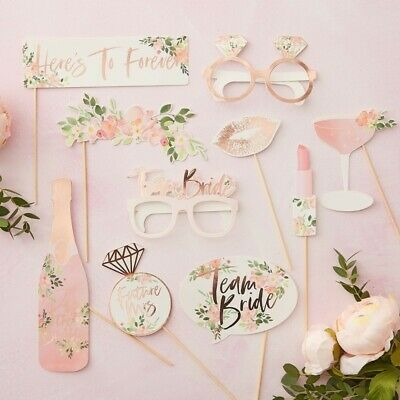 PHOTO BOOTH PROPS - FLORAL HEN PARTY, Hen Night, Wedding, Venue Decoration, I Do