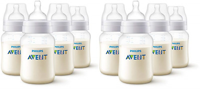 Philips Avent Anti Colic Bottle, BPA Free, 8 Wide Neck Bottles, Clear, 9 Oz