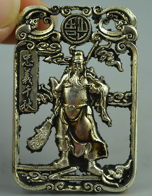 Old Collect Decor Tibet Silver Carve China Ancient General Guan Yu Rare Pendant