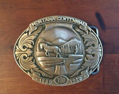 Montana Centennial 1989 Limited Ed Belt Buckle Treasure State Foundry Bronze