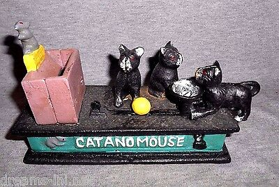 CAT AND MOUSE Cast Iron Mechanical Coin Savings Bank