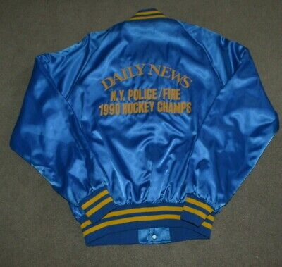 Vtg Daily News 1990 NY Police / Fire Hockey Champs Satin Jacket NYPD FDNY L NYC