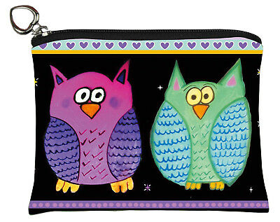 Whimsical Owls Change Purse, Coin Purse - From my Original Oil Painting