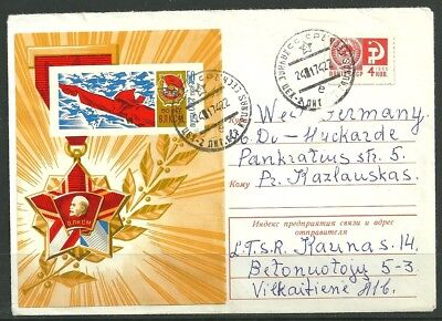 Lithuania in USSR 1974 Cover Mi3531 Block 52 sent Kaunas to BRD # An232