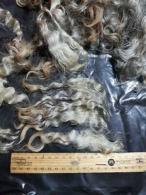 100Gr English Leicester Silver Grey Wool  Locks Spinning Dyeing Felt Craft