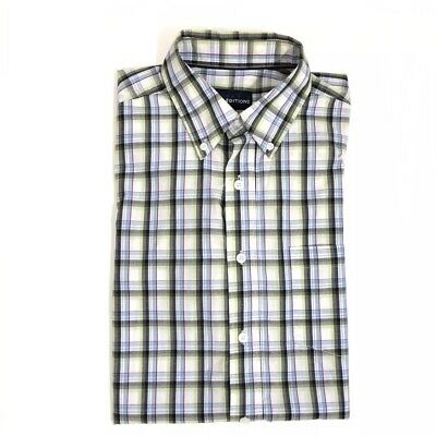 a45d696bed4b Basic Editions Men s Size Medium Green Blue Plaid Button Down Short Sleeve  Shirt
