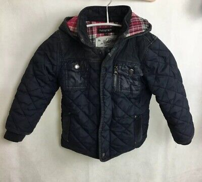 Autograph M&S Girls Navy Padded Jacket Size 2-3 Years Hood Pink Check Lining