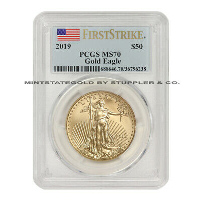 2019 $50 American Gold Eagle PCGS MS70 First Strike 1oz 22KT Coin w/ Flag Label