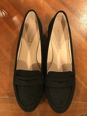 b1a5ee3e5a54 New Without Box Womens Madden Girl Black Suede Loafers Slip In Shoes Sz 8.5M