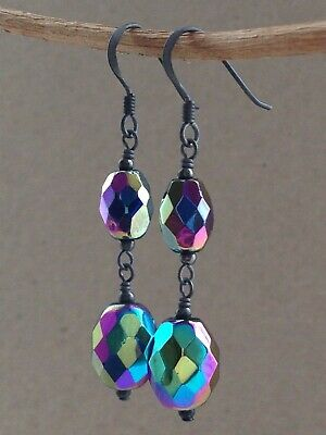 Vintage Oval Faceted Carnival Glass Oxidized Sterling Silver Earrings