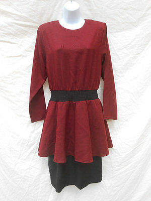 Vintage 1980s Red & Black Peplum Waist Hounds Tooth Dress by Perceptions Size 12
