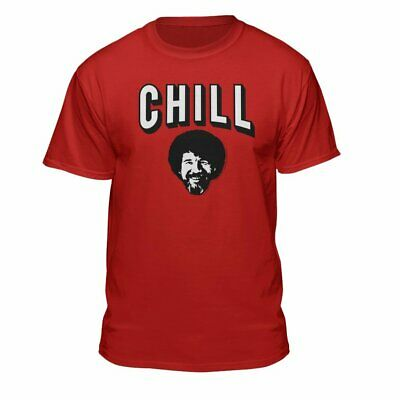 Chill Bob Ross Officially-Licensed Cool Hip Red Fitted T-Shirt