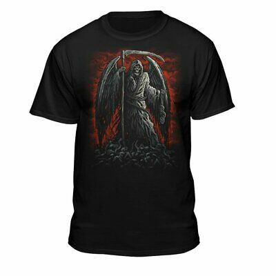 Grim Reaper Skull Angel Wings Chains Ready for Battle in Hell T-Shirt Black