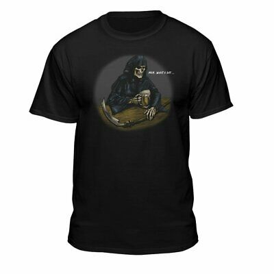 Teelocity Grim Reaper Drinking Beer What A Day Funny T-Shirt Black